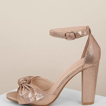 Metallic Bow Accent Open Toe Chunky Heel Sandals