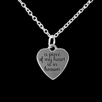 A Piece Of My Heart Is In Heaven Guardian Angel Remembrance Charm Necklace