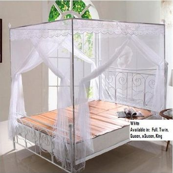 White Lace Luxury 4 Post Bed Canopy Mosquito Net Set Frame Queen