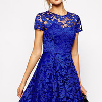 Royal Blue Lace Cut Out Skater Dress