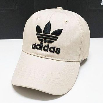 Adidas Fashion New Embroidery Letter Sunscreen Travel Women Men Cap Hat Beige