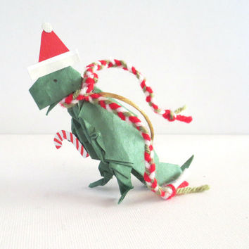 Origami Dinosaur Ornament, T-Rex with Santa Hat and Scarf, Green