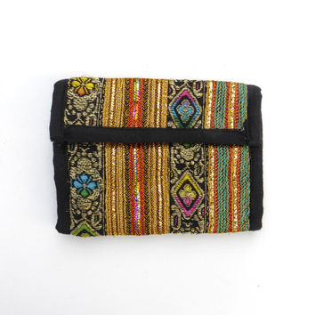Velcro Wallet Vintage 1990s Metallic Hippie India