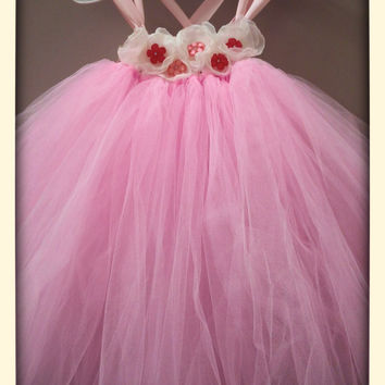 Pink  and White Tulle Flower Girl Tutu Dress / Junior Bridesmaid Dress / Pageant Dress / Junior bridesmaid Pink Christening Gown