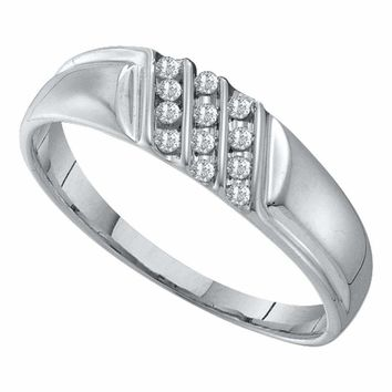 10kt White Gold Men's Round Channel-set Diamond Diagonal Triple Row Wedding Band 1/8 Cttw - FREE Shipping (US/CAN)