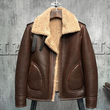 Original B3 Jacket Men's Shearling Leather Jacket Flying Jacket  Men's Fur Coat Aviation Leathercraft Pilots Coat WZS010
