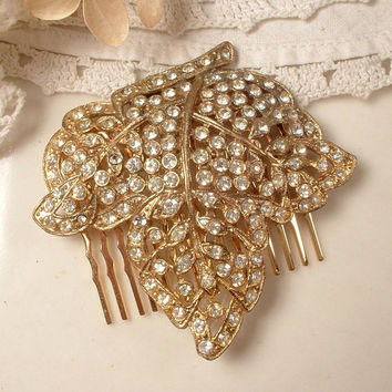 Art Nouveau Rhinestone Gold Bridal Hair Comb, Vintage Art Deco Pave Crystal Leaf Brooch Hairpiece, Antique Head Piece 1920 Wedding Accessory