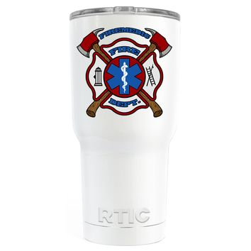 RTIC Firemedic Fire Department Badge on White 30 oz Tumbler Cup