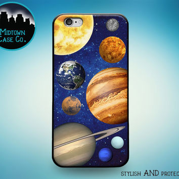 Solar System Sun Stars Planets Mercury Venus Earth Mars Jupiter Saturn Uranus Neptune Rubber Case for iPhone 7 Plus 7 6s 6 Plus 5s 5 5c SE
