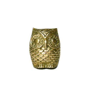 Vintage Brass Owl Figurine, Solid Brass Animal Statue, Small, 2.5 Inches Tall