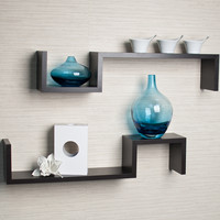 "DanyaB ""S"" Wall Mount Shelf (Set of 2)"