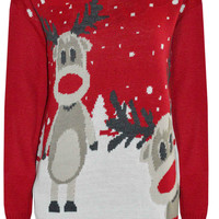 Twin Reindeers Ugly Christmas Sweater with snowflakes