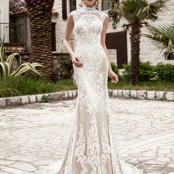 Dreagel New Arrival Elegant High Neck Women Mermaid Wedding Dress 2017 High Quality Lace Appliques Brush Train Vestido de Noiva