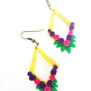 Diamond shape Earrings | Yellow color and crafted roses and leaves | Dangle Earrings | Drop Earrings | Polymer Clay Earrings