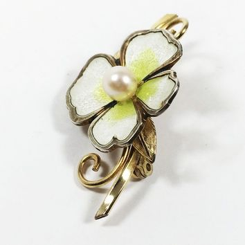 Gold Filled Pearl Floral Dogwood Pin Signed Creed 12K GF Vintage 1960's 1970's White Green Enamel Petals Flower Brooch Leaves Curled Stem