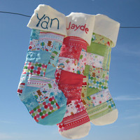 Sale Personalized Christmas Stockings (large) for baby and children, quilted with Patchwork - totally handmade with hand embroidery