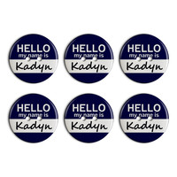 Kadyn Hello My Name Is Plastic Resin Button Set of 6