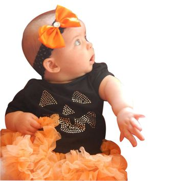 Newborn Infant Baby Girls Tutu Romper  Halloween with Leg Warmers