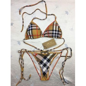 Burberry Women Halter Monogram Print Bandage Bottom Side Knot Two Piece Bikini