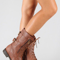 Military Lace Up Mid Calf Boot