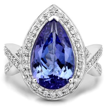 A Special Edition 14K White Gold 5.89CT Pear Cut Naturally Mined Tanzanite Ring