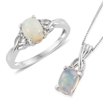 Ethiopian Welo Opal Ring and Matching Necklace