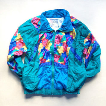 Small 90s Windbreaker - Flower Windbreaker - Light Swishy Jacket - Christmas Gift - 80s Windbreaker - Fall Jacket - Christmas Gift