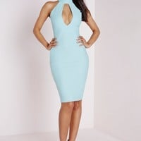 Missguided - Crepe High Neck Cut Out Midi Dress Powder Blue