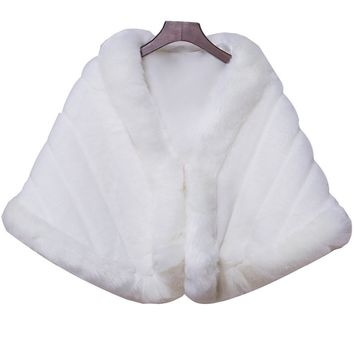In Stock Wedding Accessory Faux Fur Black White Custom Made Bridal Coat Wedding Bolero Stoles Jacket Shrug Wraps LF30