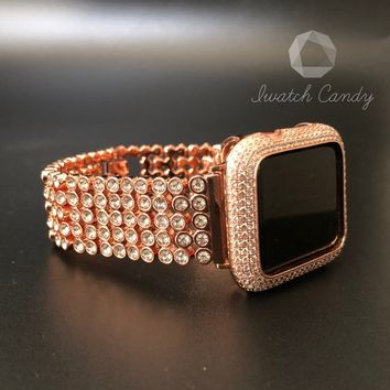 Apple Watch Band 38mm 42mm Series 1,2,3 Womens Rose Gold Iced Out Rhinestone Crystal Band Sparkles Like Diamonds Loaded Bling