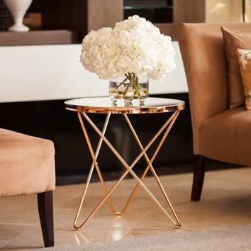 The Gray Barn Brees Rose Gold and Glass Top End Table | Overstock.com Shopping - The Best Deals on Coffee, Sofa & End Tables