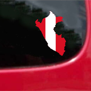 Peru Outline Map Flag Vinyl Decal Sticker Full Color/Weather Proof.