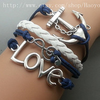 Music Note-Anchor - Love  Bracelet- Antique Silver Charm Bracelet Navy Wax Cords White Braided Leather Bracelet  01642