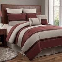 12pc Queen CMBG. Red/Beige/Black Luxury Bed Set