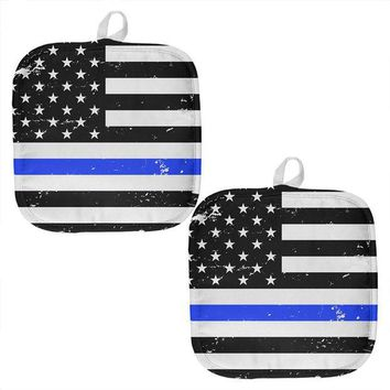 DCCKU3R Distressed Thin Blue Line American Flag All Over Pot Holder (Set of 2)