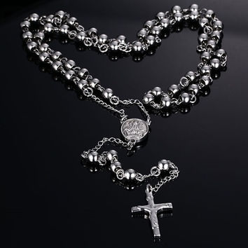 Vnox Rosary Jesus On The Cross Pendant & Necklace for Men Women Gold Plated Steel Bead Charm Long Necklaces