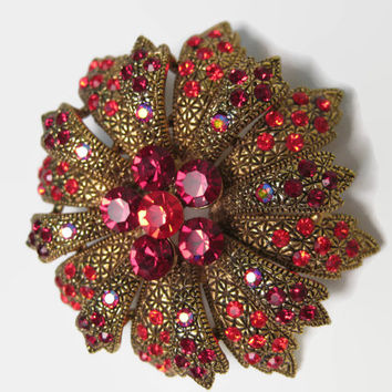 Vintage Brooch, Red Crystals, Gold Tone Metal 2 Tier Poinsettia Brooch