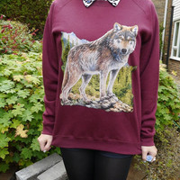 Wildlife Lone Wolf , Wolves, jumper, sweatshirt, sweater, unisex, vintage reproduction, retro, domestic,animal, nature, new