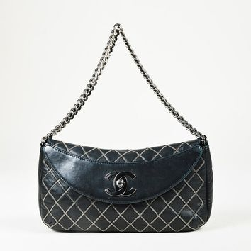 Chanel Black Calfskin Leather Chain Quilted 'CC' Turnlock Flap Bag