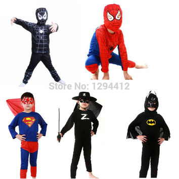 Red spiderman costume black spiderman batman superman halloween costumes for kids superhero capes anime cosplay carnival costume