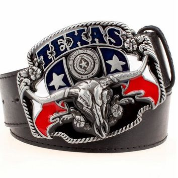 Men's Leather Western Belt with Texas Flag and Longhorn Skull Metal Buckle