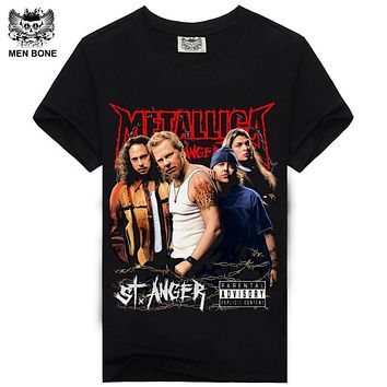 [Men bone] Sale Men's Heavy metal cultivate personality Metallica NIRVANA rock t shirts Funny Novelty hip hop rock t-shirts men
