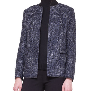 Women's Collarless Boucle Jacket - Akris punto - Denim