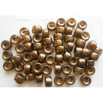 25 9mm Czech Dark Lumi Brown glass pony roller beads, large hole crow beads, C4725