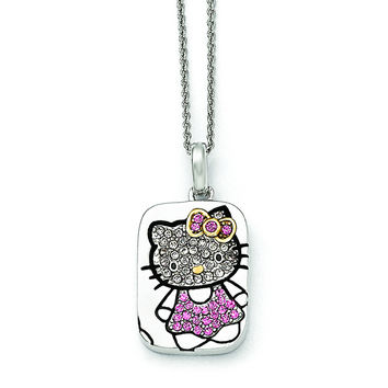 Sterling Silver Hello Kitty Pav' Crystal Outline Collection Necklace QHK150
