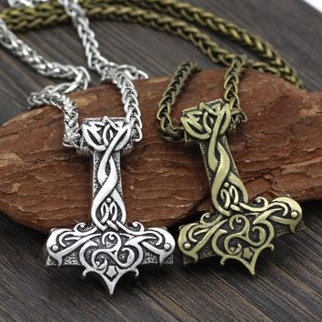 Men Viking Large Thor Hammer Mjolnir Amulet Pendant Necklace