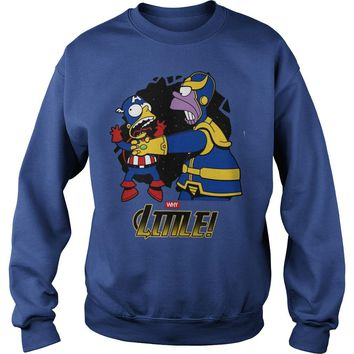 Homer Simpson Thanos vs Bart Simpson Captain America shirt Sweat Shirt