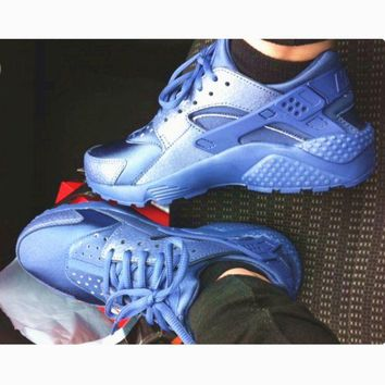 "shosouvenir : ""NIKE""AIR Huarache Running Sport Casual Shoes Sneakers Sliver blue H-AA"