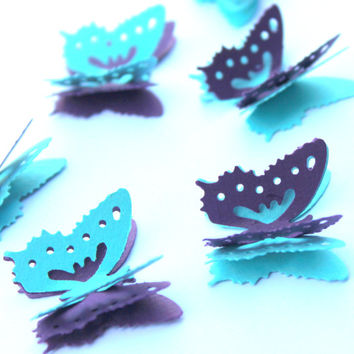 Mini Butterflies,3 layer butterflies,Scrap booking,Party decorations,Wedding table decor,Cake decorations