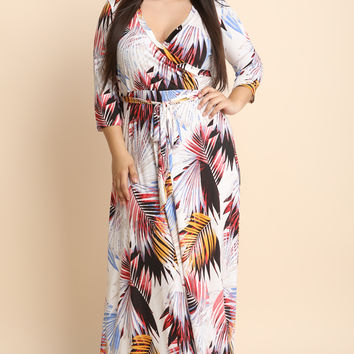 Tropical Palm Waist Sash Maxi Dress | UrbanOG